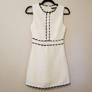 Shein Scalloped Tweed Dress Black and Cream XS